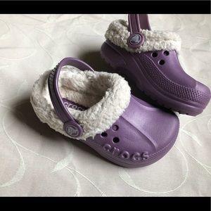 Crocs purple ivory mule slippers kids size c 8/9